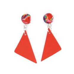 Geometrik Kırmızı Küpe