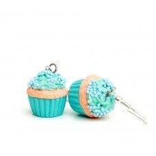 Candy Cupcake Mavi Küpe