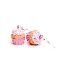 Candy Cupcake Pembe Küpe
