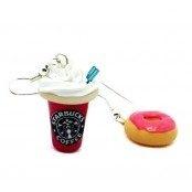 Starbucks & Donut Pembe Küpe